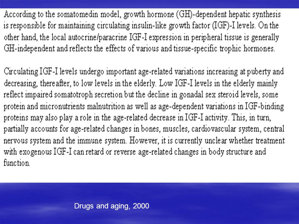 Drugs and aging, 2000