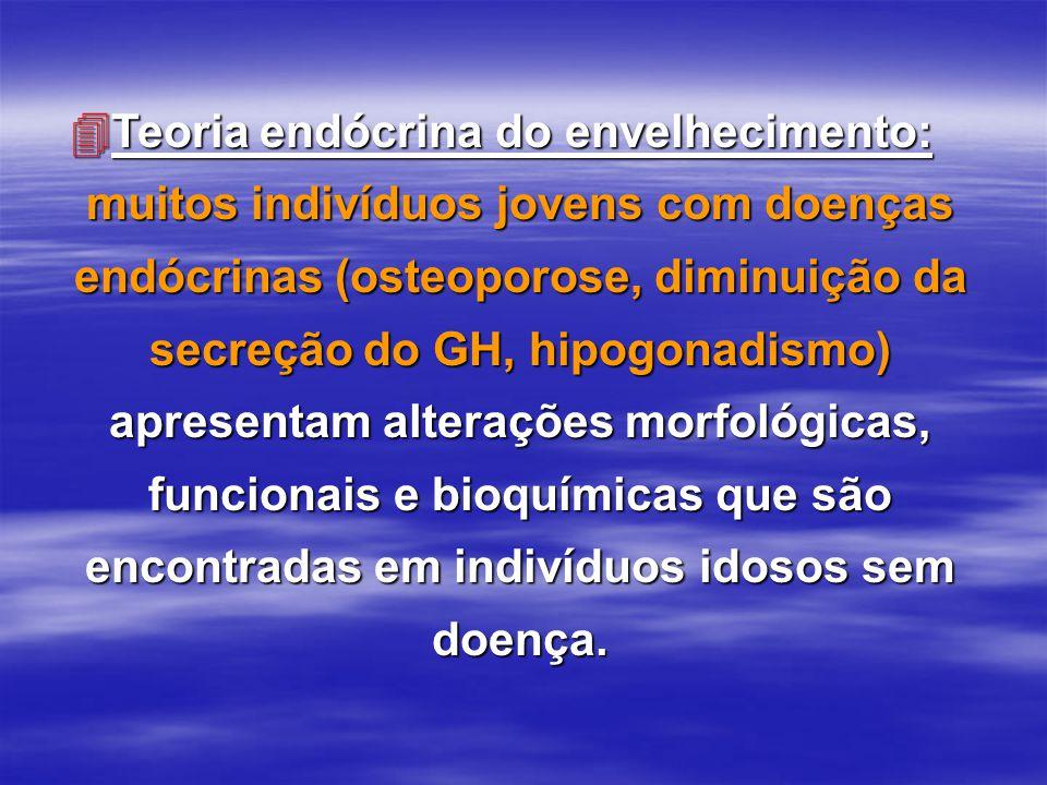 4Teoria endócrina do envelhecimento: muitos indivíduos jovens com doenças endócrinas (osteoporose, diminuição da secreção do GH, hipogonadismo) aprese