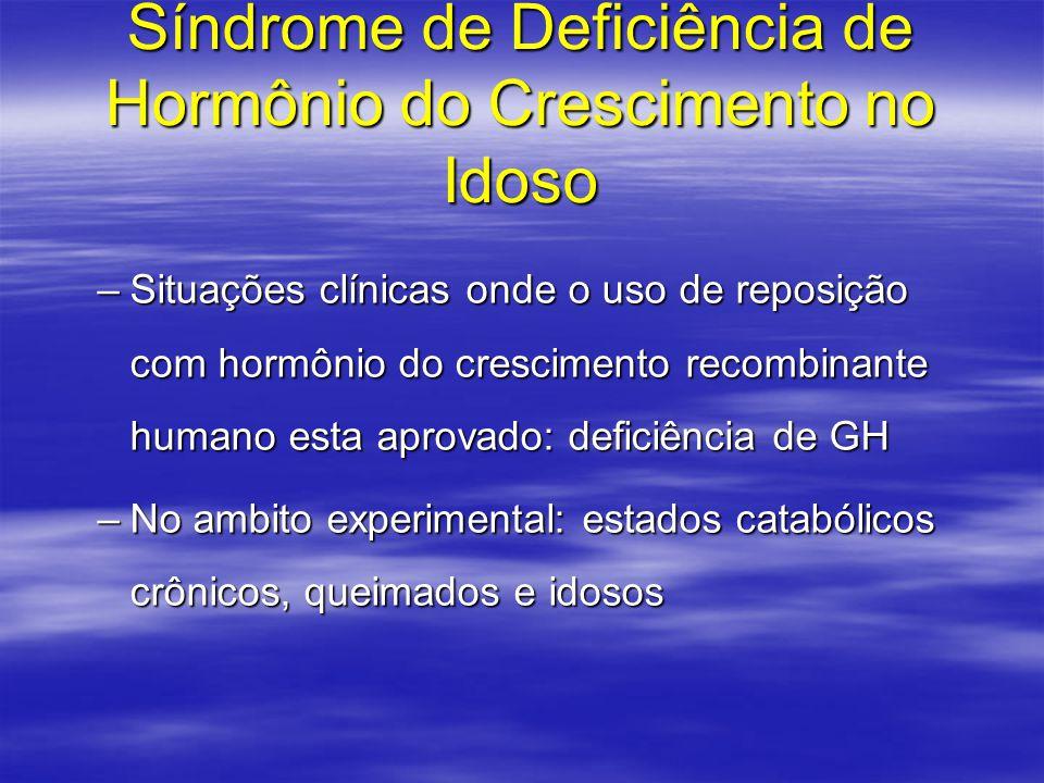 Síndrome de Deficiência de Hormônio do Crescimento no Idoso –Situações clínicas onde o uso de reposição com hormônio do crescimento recombinante human