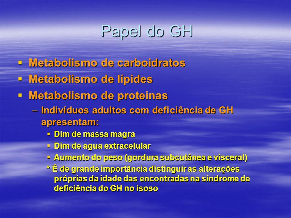 Papel do GH  Papel no metabolismo de carboidratos, lípides e proteinas Deficiência: –Menor massa magra; –Menor agua extracelular; –Aumento de massa gordurosa subcutânea e visceral