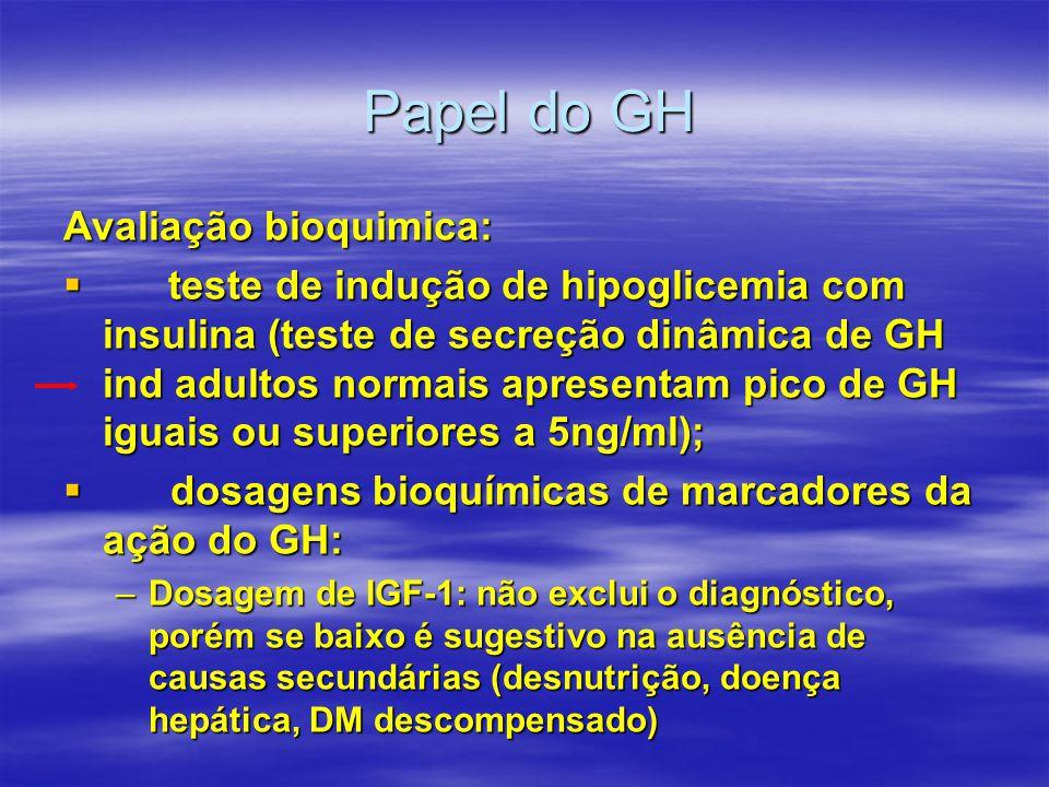 Papel do GH Avaliação bioquimica:  teste de indução de hipoglicemia com insulina (teste de secreção dinâmica de GH ind adultos normais apresentam pic