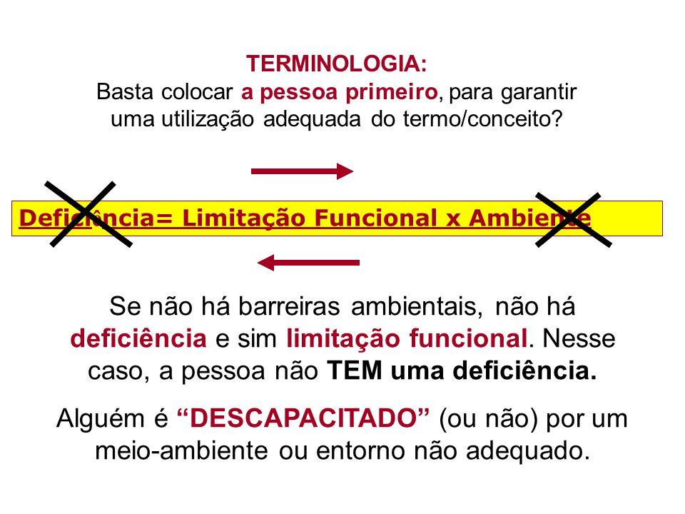 TERMINOLOGIA: Basta colocar a pessoa primeiro, para garantir uma utilização adequada do termo/conceito? Defici ê ncia= Limitação Funcional x Ambiente