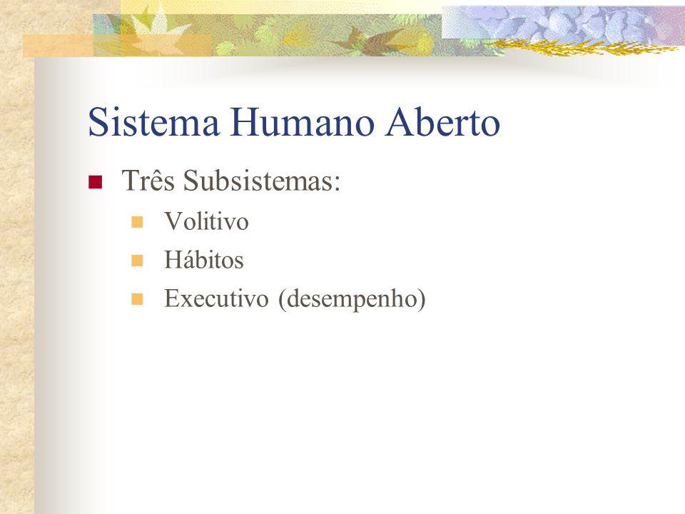 Sistema Humano Aberto Três Subsistemas: Volitivo Hábitos Executivo (desempenho)