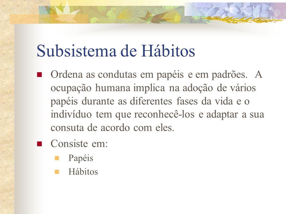 Subsistema de Hábitos Ordena as condutas em papéis e em padrões.