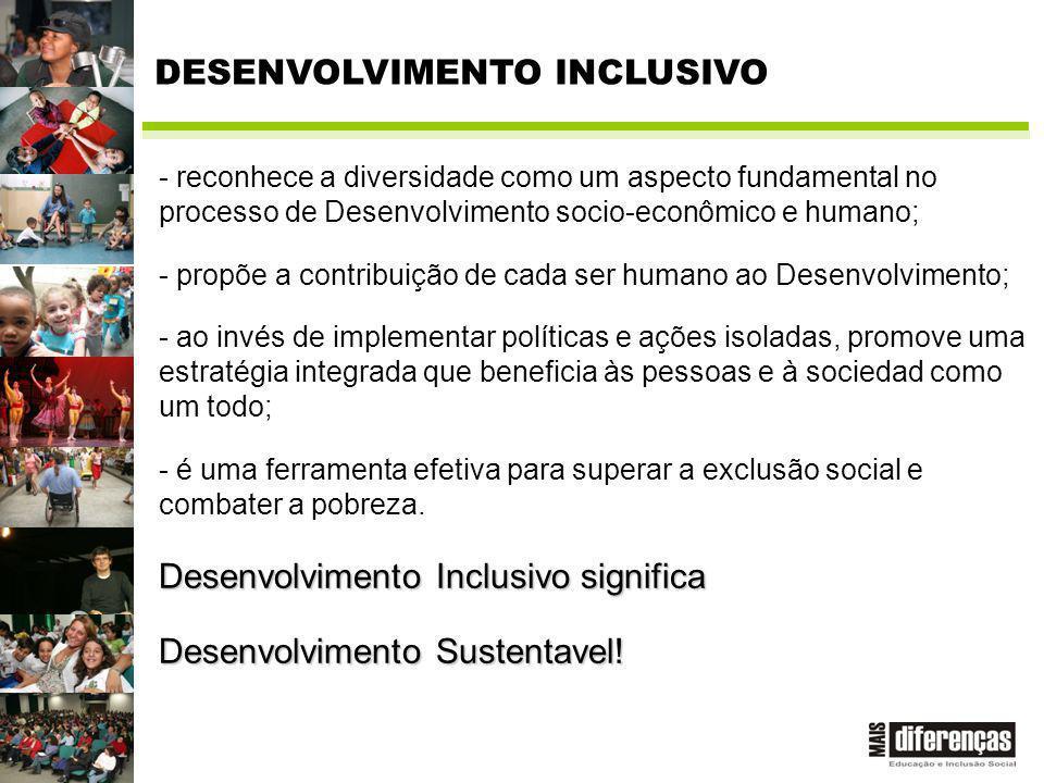 - reconhece a diversidade como um aspecto fundamental no processo de Desenvolvimento socio-econômico e humano; - propõe a contribuição de cada ser humano ao Desenvolvimento; - ao invés de implementar políticas e ações isoladas, promove uma estratégia integrada que beneficia às pessoas e à sociedad como um todo; - é uma ferramenta efetiva para superar a exclusão social e combater a pobreza.