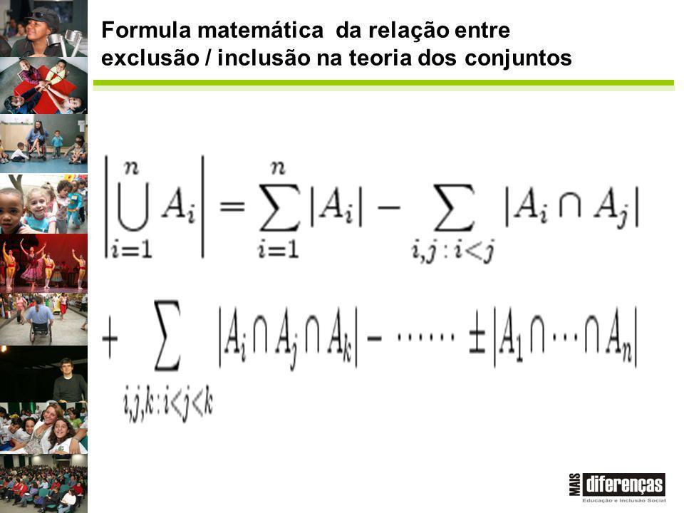 Formula matemática da relação entre exclusão / inclusão na teoria dos conjuntos