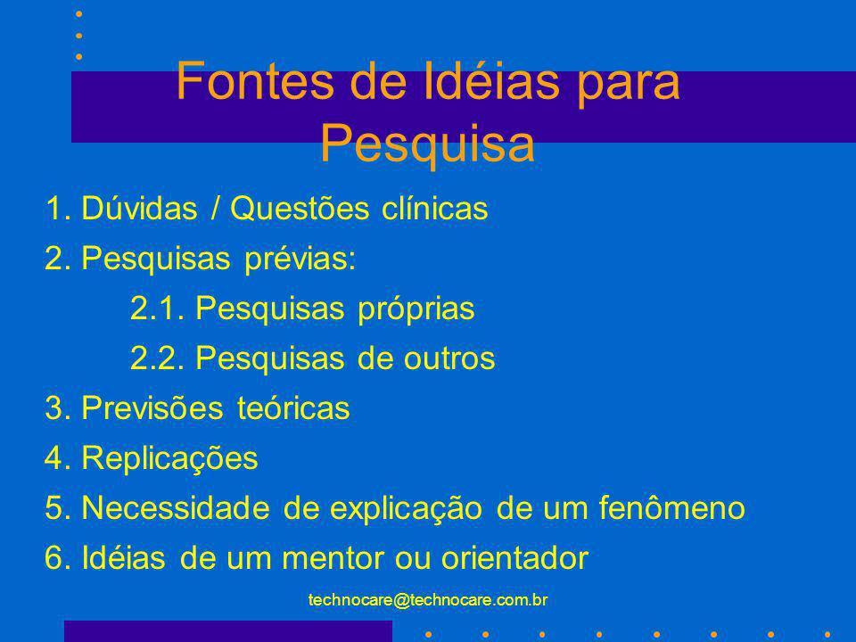 technocare@technocare.com.br Fontes de Idéias para Pesquisa 1. Dúvidas / Questões clínicas 2. Pesquisas prévias: 2.1. Pesquisas próprias 2.2. Pesquisa