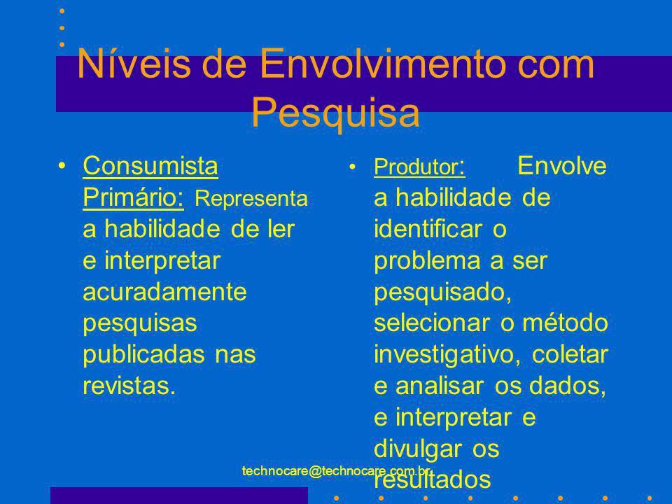 technocare@technocare.com.br Níveis de Envolvimento com Pesquisa Consumista Primário: Representa a habilidade de ler e interpretar acuradamente pesqui