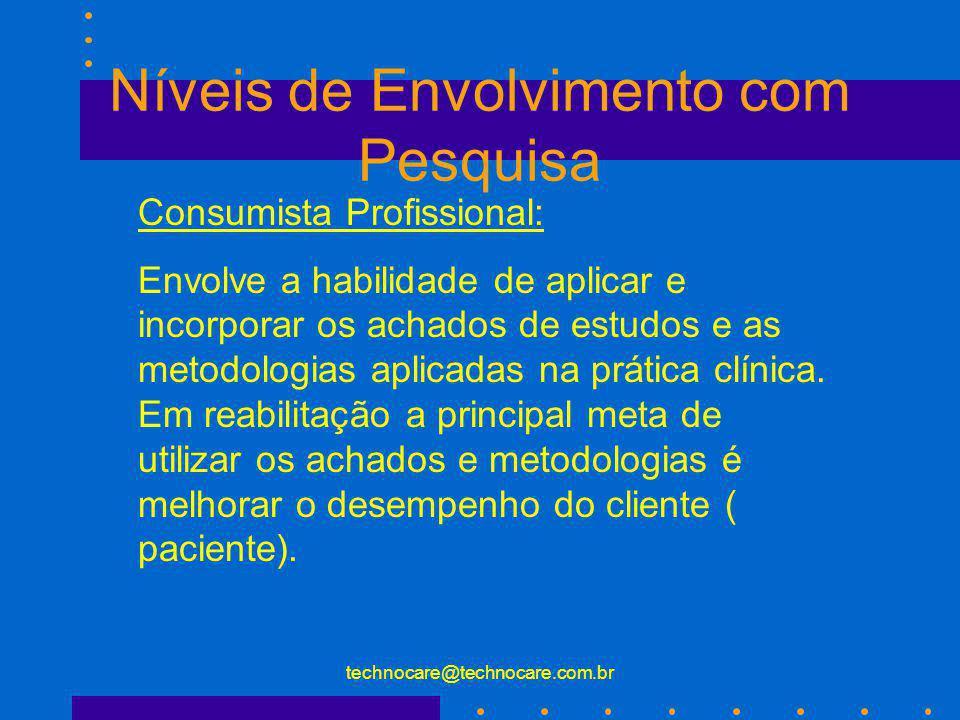 technocare@technocare.com.br Níveis de Envolvimento com Pesquisa Consumista Profissional: Envolve a habilidade de aplicar e incorporar os achados de e