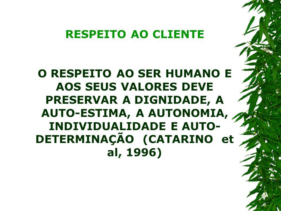 RESPEITO AO CLIENTE O RESPEITO AO SER HUMANO E AOS SEUS VALORES DEVE PRESERVAR A DIGNIDADE, A AUTO-ESTIMA, A AUTONOMIA, INDIVIDUALIDADE E AUTO- DETERMINAÇÃO (CATARINO et al, 1996)