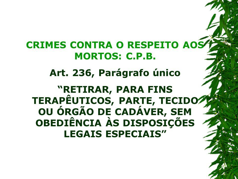 CRIMES CONTRA O RESPEITO AOS MORTOS: C.P.B.Art.