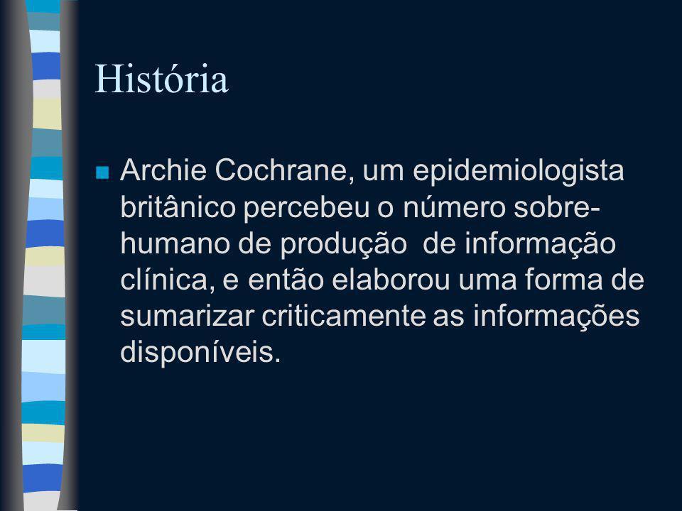 História n Archie Cochrane, um epidemiologista britânico percebeu o número sobre- humano de produção de informação clínica, e então elaborou uma forma de sumarizar criticamente as informações disponíveis.