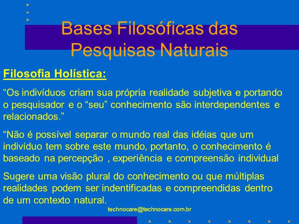 technocare@technocare.com.br Bases Filosóficas das Pesquisas Experimentais Positivismo Lógico : empiricismo é a crença de que um realidade particular pode ser descoberta reduzindo-a em partes .
