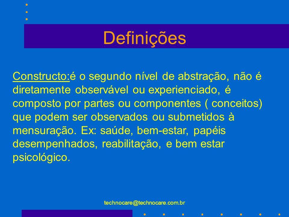 technocare@technocare.com.br Definições Conceito: primeiro nível de abstração, representação simbólica de um fato observado ou experienciado , são utilizados para expressar as idéias, sem eles não haveria linguagem.
