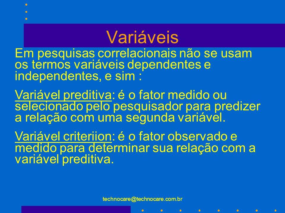 technocare@technocare.com.br Variáveis 1.