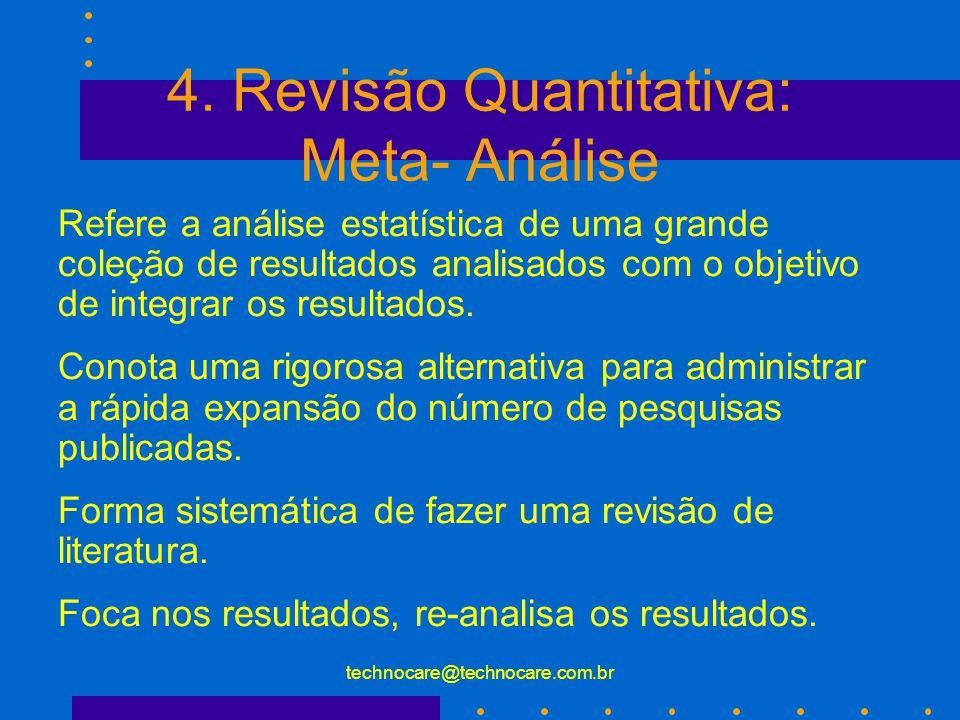 technocare@technocare.com.br Tipos de Revisão da Literatura 3.
