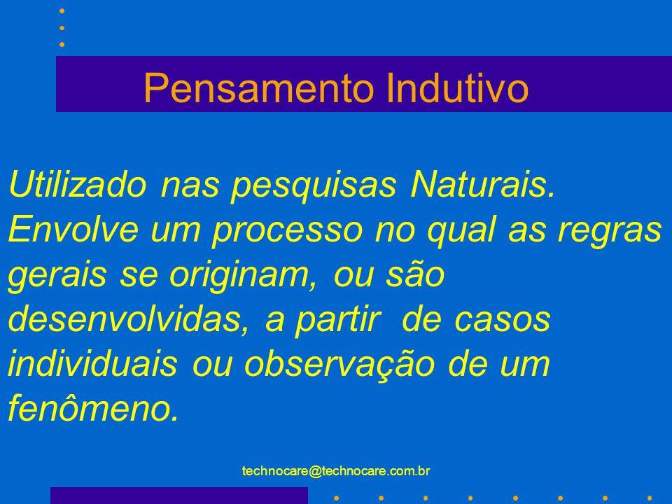technocare@technocare.com.br Pensamento Dedutivo Pesquisadores do tipo experimental usam pensamentos dedutivos.
