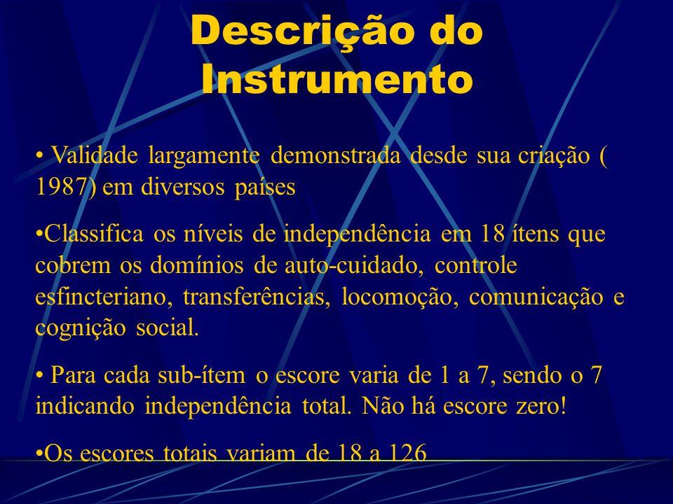 Descrição do Instrumento Validade largamente demonstrada desde sua criação ( 1987) em diversos países Classifica os níveis de independência em 18 ítens que cobrem os domínios de auto-cuidado, controle esfincteriano, transferências, locomoção, comunicação e cognição social.