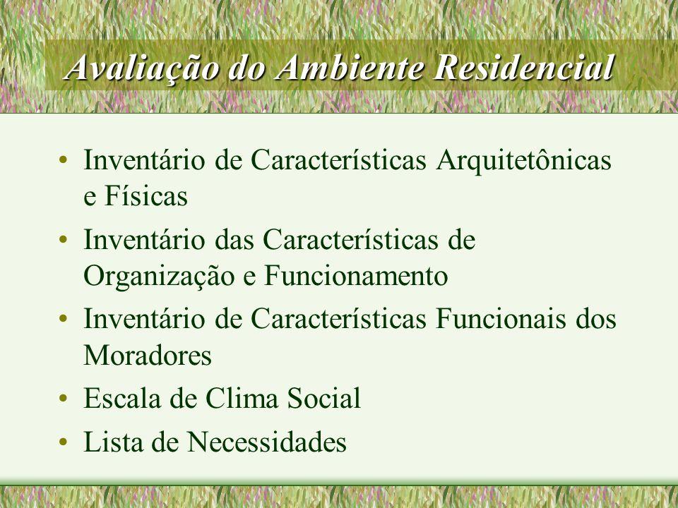 Avaliação do Ambiente Residencial Inventário de Características Arquitetônicas e Físicas Inventário das Características de Organização e Funcionamento