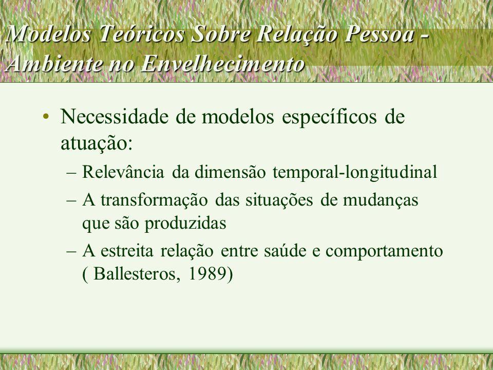 Modelos Teóricos Sobre Relação Pessoa - Ambiente no Envelhecimento Necessidade de modelos específicos de atuação: –Relevância da dimensão temporal-lon