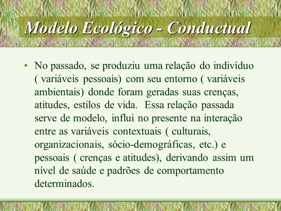 Modelo Ecológico - Conductual Estes comportamentos gerados podem atuar sobre o ambiente ( variáveis contextuais) e sobre as pessoas ( repertórios comportamentais).