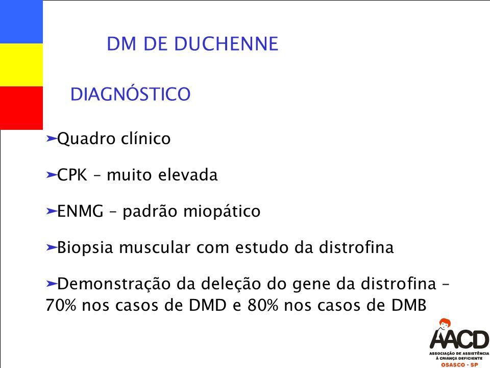 DM DE DUCHENNE äQuadro clínico äCPK – muito elevada äENMG – padrão miopático äBiopsia muscular com estudo da distrofina äDemonstração da deleção do gene da distrofina – 70% nos casos de DMD e 80% nos casos de DMB DIAGNÓSTICO