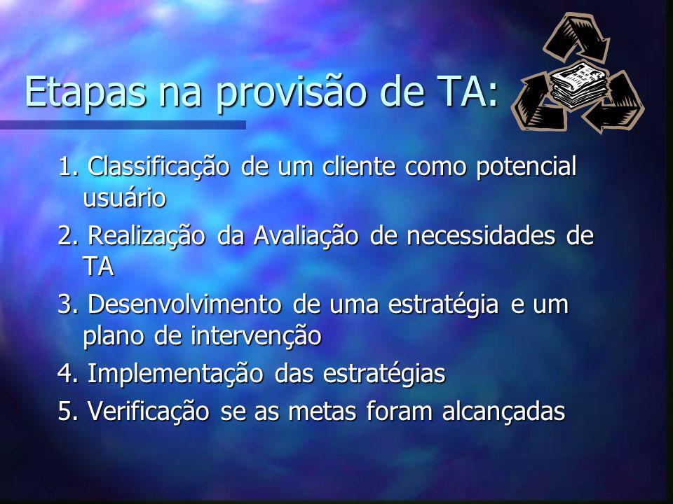Etapas na provisão de TA: 1. Classificação de um cliente como potencial usuário 2. Realização da Avaliação de necessidades de TA 3. Desenvolvimento de