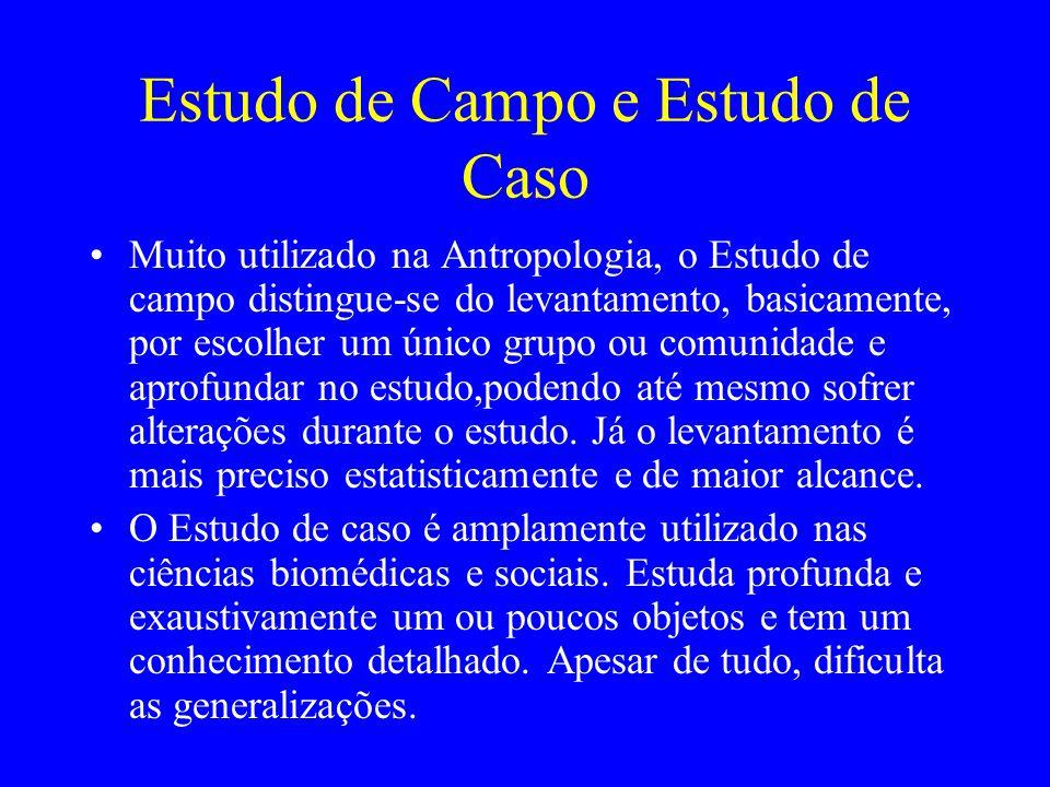 Estudo de Campo e Estudo de Caso Muito utilizado na Antropologia, o Estudo de campo distingue-se do levantamento, basicamente, por escolher um único g