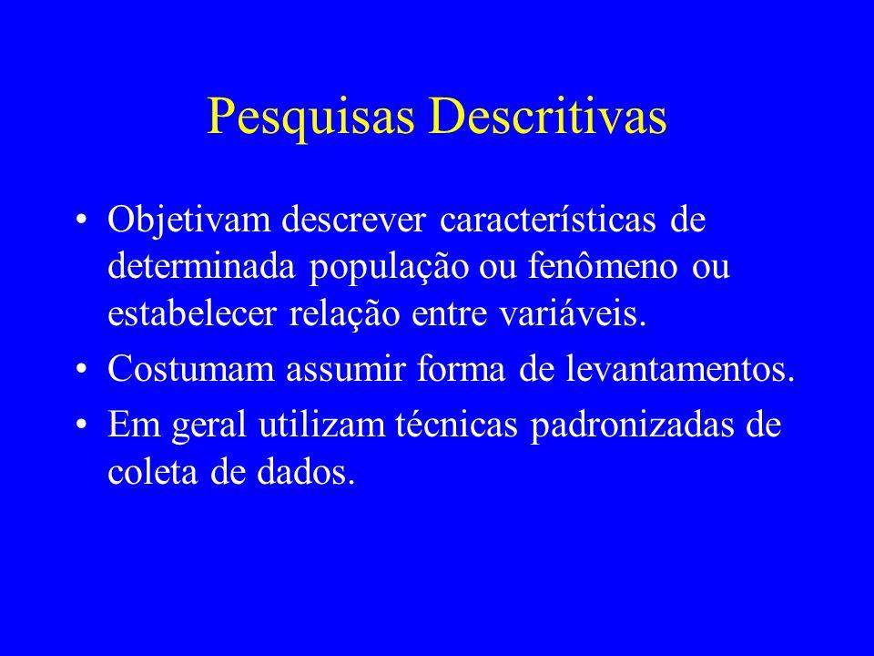 Pesquisas Descritivas Objetivam descrever características de determinada população ou fenômeno ou estabelecer relação entre variáveis. Costumam assumi