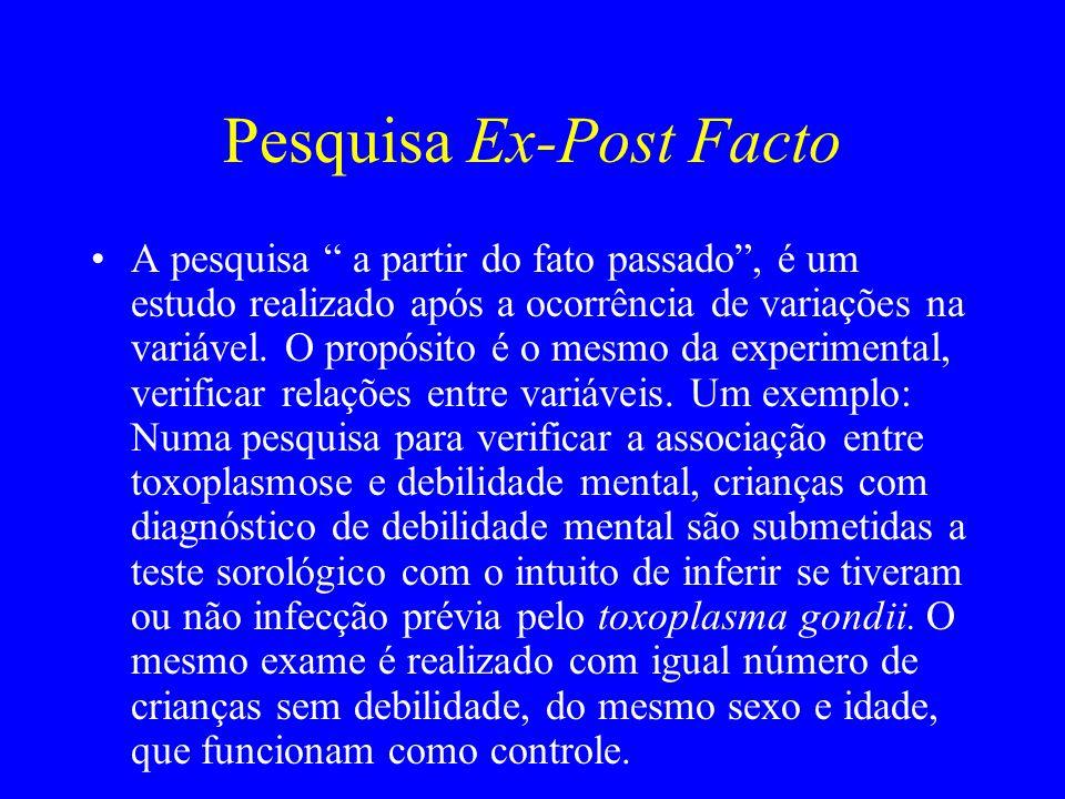 """Pesquisa Ex-Post Facto A pesquisa """" a partir do fato passado"""", é um estudo realizado após a ocorrência de variações na variável. O propósito é o mesmo"""