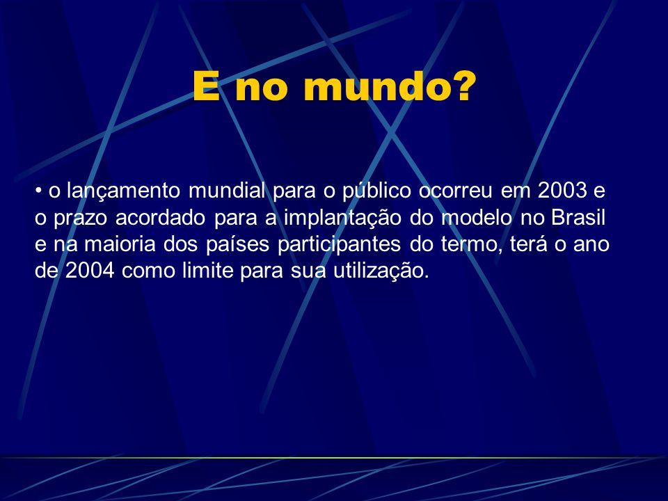 E no mundo? o lançamento mundial para o público ocorreu em 2003 e o prazo acordado para a implantação do modelo no Brasil e na maioria dos países part