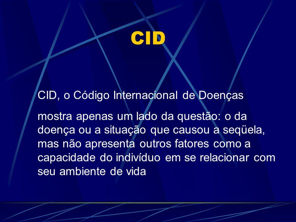 Exemplo Uma pessoa com diabetes está classificada no CID (Código Internacional de Doenças) como doente, mas se não apresentar sintomas incapacitantes específicos do diabetes, ela de forma alguma, poderá ser definida como possuidora de algum tipo de deficiência, e esta era uma dificuldade estrutural do CID, que veio a ser corrigida com o CIF.