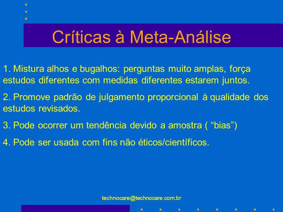 technocare@technocare.com.br Críticas à Meta-Análise 1. Mistura alhos e bugalhos: perguntas muito amplas, força estudos diferentes com medidas diferen
