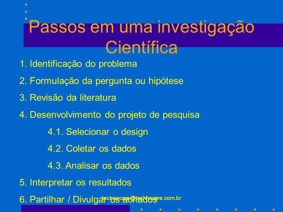 technocare@technocare.com.br Passos em uma investigação Científica 1. Identificação do problema 2. Formulação da pergunta ou hipótese 3. Revisão da li