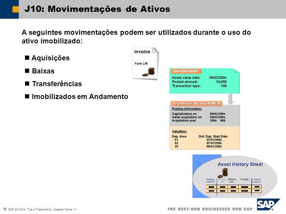  SAP AG 2004, Title of Presentation, Speaker Name / 4 J10: Movimentações de Ativos Aquisições Baixas Transferências Imobilizados em Andamento A seguintes movimentações podem ser utilizados durante o uso do ativo imobilizado: