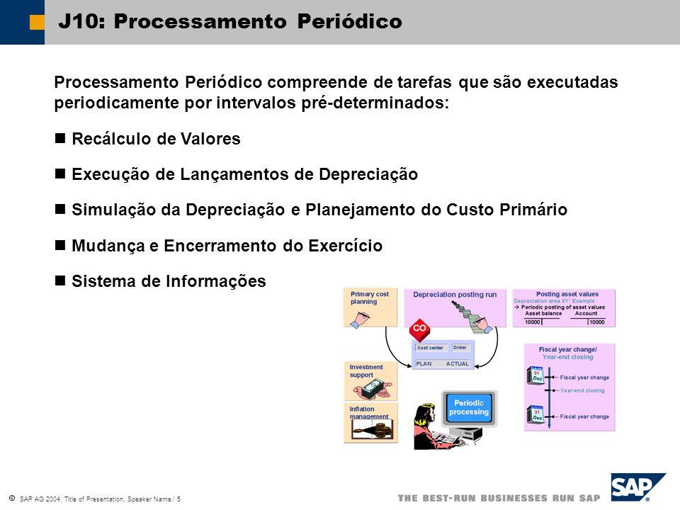  SAP AG 2004, Title of Presentation, Speaker Name / 5 J10: Processamento Periódico Processamento Periódico compreende de tarefas que são executadas periodicamente por intervalos pré-determinados: Recálculo de Valores Execução de Lançamentos de Depreciação Simulação da Depreciação e Planejamento do Custo Primário Mudança e Encerramento do Exercício Sistema de Informações