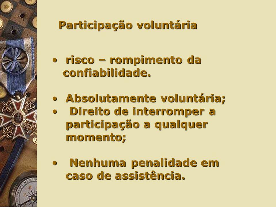 Participação voluntária risco – rompimento darisco – rompimento da confiabilidade.