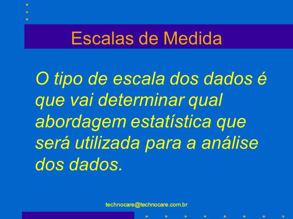 technocare@technocare.com.br Variáveis Em pesquisas correlacionais não se usam os termos variáveis dependentes e independentes, e sim : Variável predi