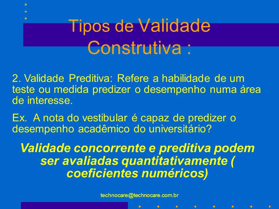 technocare@technocare.com.br Tipos de Validade Construtiva : 1. Validade Concorrente: Refere a relação entre o desempenho do instrumento de interesse
