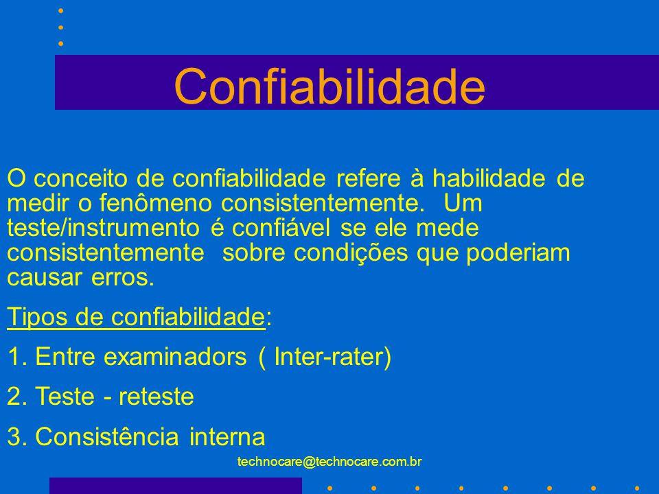 technocare@technocare.com.br Tipos de Validade Construtiva : 2. Validade Preditiva: Refere a habilidade de um teste ou medida predizer o desempenho nu