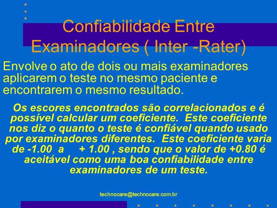 technocare@technocare.com.br Confiabilidade O conceito de confiabilidade refere à habilidade de medir o fenômeno consistentemente. Um teste/instrument