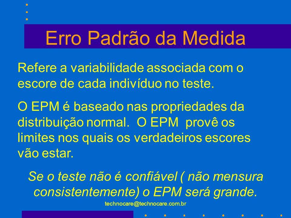 technocare@technocare.com.br Desvio Padrão (Standard Deviation) x Erro amostral (Standard Error) Qual a diferença? O Desvio Padrão é a medida de varia