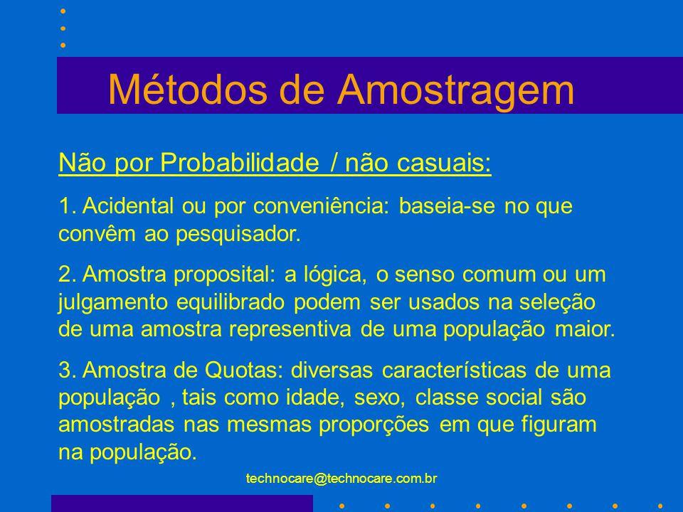 technocare@technocare.com.br Métodos de Amostragem Representativo por Probabilidade: 1. Amostra aleatória ( casual) simples ( forma mais poderosa) 2.