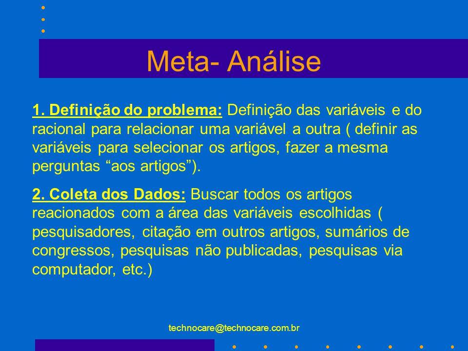 technocare@technocare.com.br Meta- Análise Etapas: 1. Definição do problema 2. Coleta dos Dados 3. Avaliação dos Dados 4. Análise e Interpretação 5. R