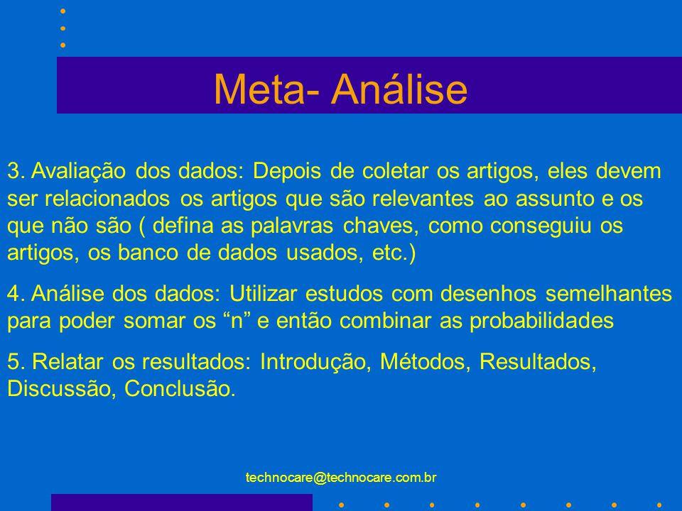 technocare@technocare.com.br Meta- Análise 1. Definição do problema: Definição das variáveis e do racional para relacionar uma variável a outra ( defi