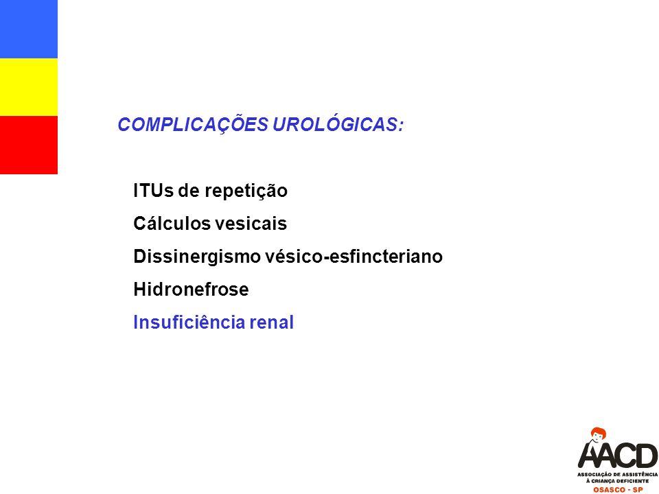 COMPLICAÇÕES UROLÓGICAS:  ITUs de repetição  Cálculos vesicais  Dissinergismo vésico-esfincteriano  Hidronefrose  Insuficiência renal