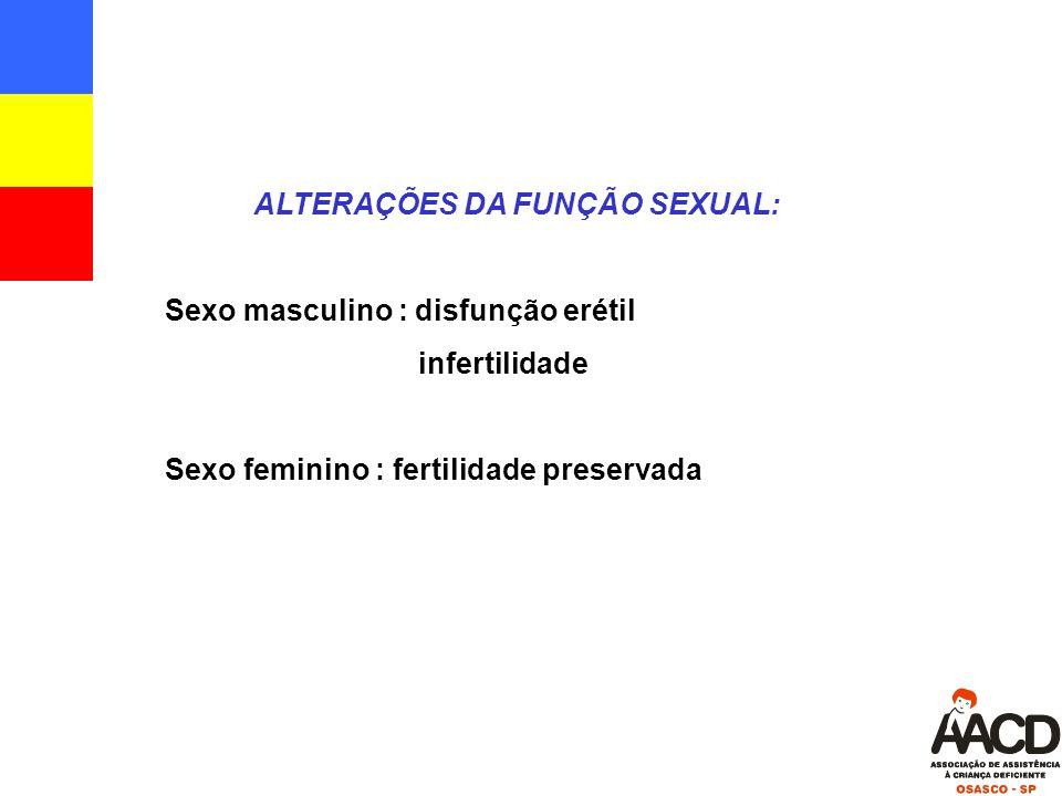 ALTERAÇÕES DA FUNÇÃO SEXUAL: Sexo masculino : disfunção erétil infertilidade Sexo feminino : fertilidade preservada