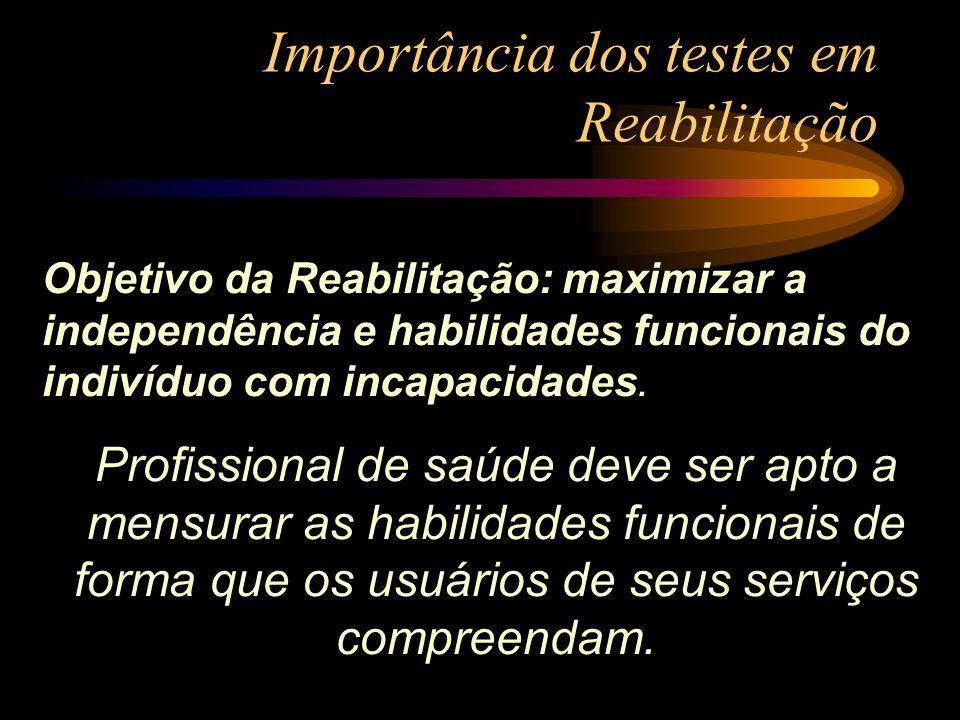 Importância dos testes em Reabilitação Objetivo da Reabilitação: maximizar a independência e habilidades funcionais do indivíduo com incapacidades. Pr