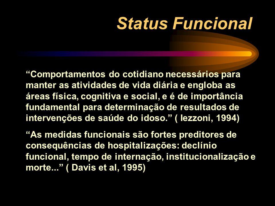 """Status Funcional """"Comportamentos do cotidiano necessários para manter as atividades de vida diária e engloba as áreas física, cognitiva e social, e é"""