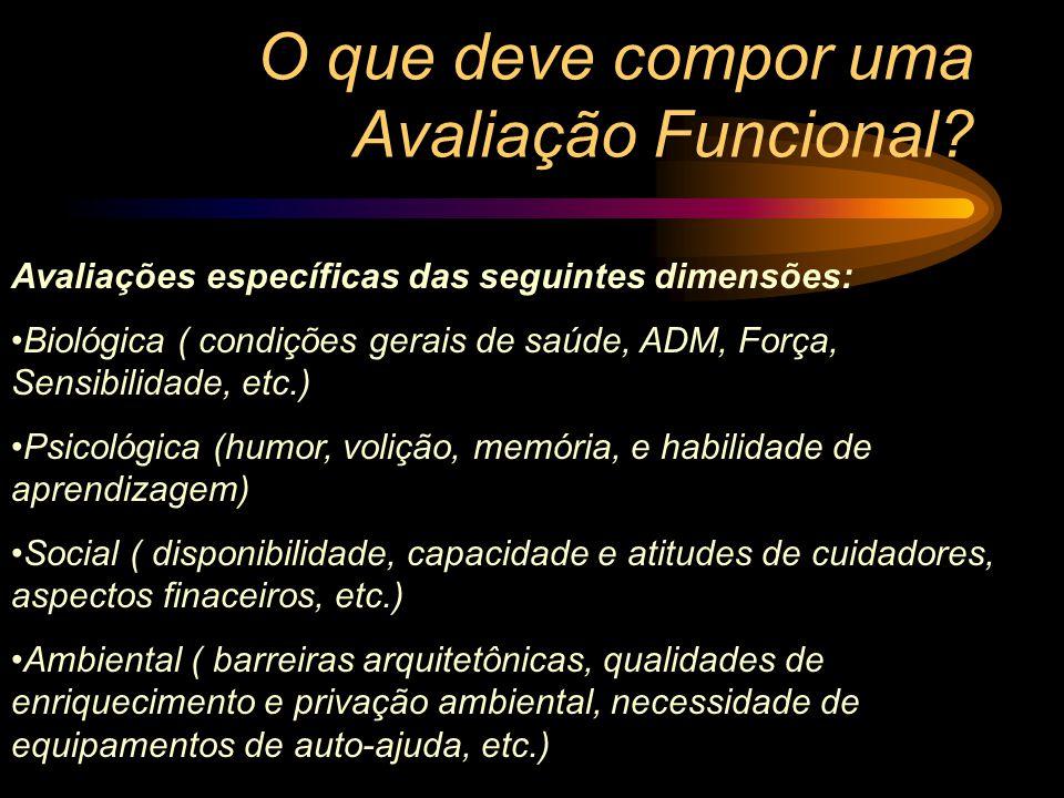 O que deve compor uma Avaliação Funcional? Avaliações específicas das seguintes dimensões: Biológica ( condições gerais de saúde, ADM, Força, Sensibil